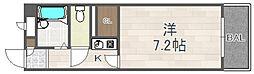 阪急宝塚本線 川西能勢口駅 徒歩6分の賃貸マンション 3階1Kの間取り