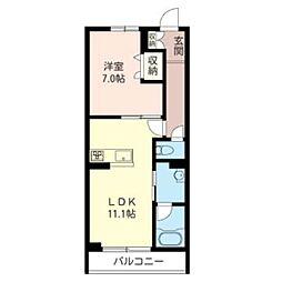カーサクオーレ 2階1LDKの間取り