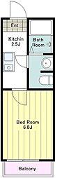 京王線 北野駅 徒歩13分の賃貸アパート 2階1Kの間取り