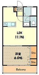 富士見台明星パレス 3階1LDKの間取り