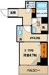 東急田園都市線 溝の口駅 徒歩5分の賃貸マンション 3階1DKの間取り
