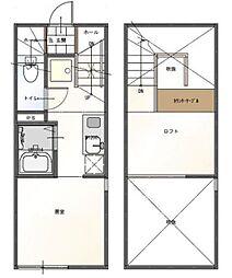 京王高尾線 京王片倉駅 徒歩5分の賃貸アパート 2階1Kの間取り