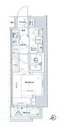JR山手線 目黒駅 徒歩10分の賃貸マンション 7階1Kの間取り