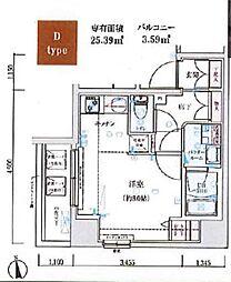 GENOVIA木場skygarden 5階ワンルームの間取り