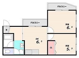 蓮宮ハイツ[3階]の間取り