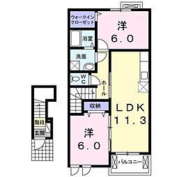 愛知県豊橋市牛川町字東側の賃貸アパートの間取り