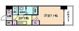 プレサンス大阪福島シエル 6階1Kの間取り