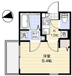 西武新宿線 花小金井駅 徒歩8分の賃貸アパート 1階1Kの間取り
