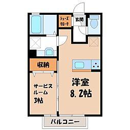 JR東北本線 小山駅 徒歩31分の賃貸アパート 1階ワンルームの間取り