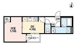 JR埼京線 与野本町駅 徒歩13分の賃貸アパート 2階1DKの間取り