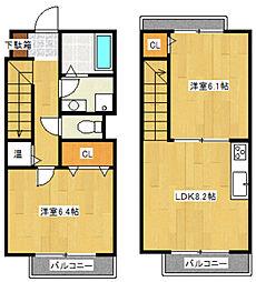 [テラスハウス] 神奈川県川崎市多摩区枡形1丁目 の賃貸【/】の間取り