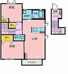 ユートピア カトレア 2階2LDKの間取り
