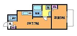 京王線 仙川駅 徒歩11分の賃貸アパート 1階1DKの間取り
