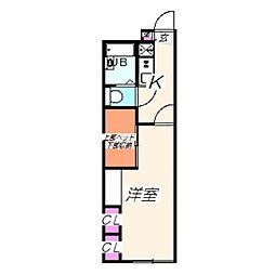 レオパレスMAMA 2階1Kの間取り