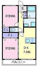 大阪府堺市東区日置荘田中町の賃貸マンションの間取り