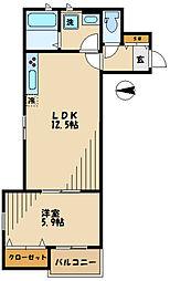 カーサビアンカ 2階1LDKの間取り