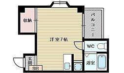 協和グリーンマンション 2階ワンルームの間取り