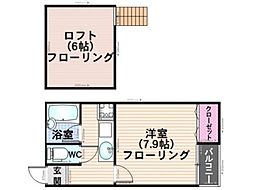 ロマン桜ヶ丘ハイツ 1階1Kの間取り