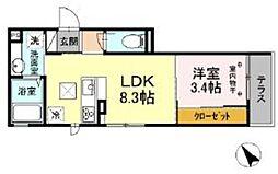 D-room高松町 1階1DKの間取り