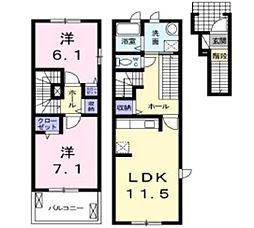 岡山県倉敷市北畝4丁目の賃貸アパートの間取り