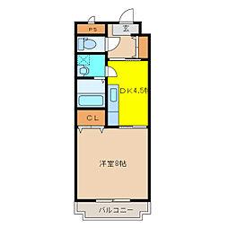 栃木県小山市三峯2丁目の賃貸マンションの間取り