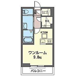 仮)木更津駅前マンション 1階ワンルームの間取り