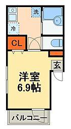 京成本線 大神宮下駅 徒歩4分の賃貸アパート 2階1Kの間取り