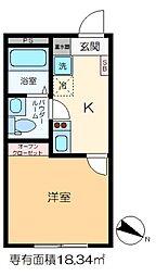 m-station 4階1Kの間取り