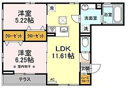 Bloom 1階2LDKの間取り