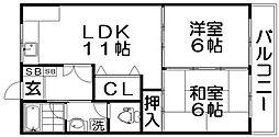 香里ニューハイツNO1[1階]の間取り