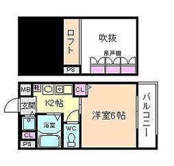 エステムコート梅田東アクアパレス[5階]の間取り