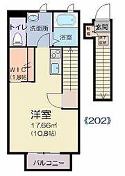 サ―ジュ川内・II 2階ワンルームの間取り