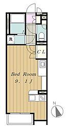 京王相模原線 多摩境駅 徒歩16分の賃貸アパート 2階ワンルームの間取り