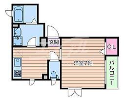 阪急千里線 関大前駅 徒歩13分の賃貸アパート 2階1Kの間取り