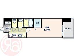Osaka Metro御堂筋線 大国町駅 徒歩1分の賃貸マンション 12階1Kの間取り