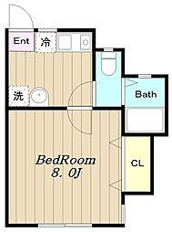 多摩都市モノレール 程久保駅 徒歩2分の賃貸アパート 2階1Kの間取り