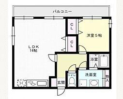 福岡県福岡市早良区原6丁目の賃貸アパートの間取り