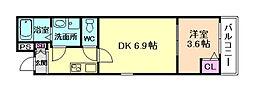 JR東海道・山陽本線 塚本駅 徒歩11分の賃貸アパート 2階1DKの間取り