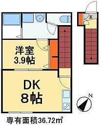 LuLu 2階1DKの間取り