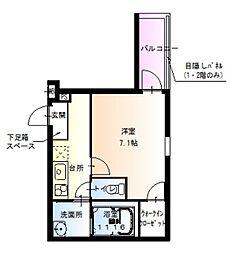 南海高野線 百舌鳥八幡駅 徒歩5分の賃貸アパート 1階1Kの間取り