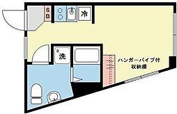 東急東横線 学芸大学駅 徒歩2分の賃貸マンション 2階ワンルームの間取り