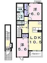 神奈川県座間市ひばりが丘2丁目の賃貸アパートの間取り