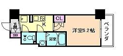 パークナードフィット新梅田リント 8階1Kの間取り