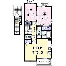 東京都青梅市藤橋3丁目の賃貸アパートの間取り