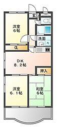 JR東海道本線 豊橋駅 バス22分 西小鷹野下車 徒歩5分の賃貸マンション 3階3DKの間取り