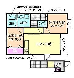大阪府大阪市福島区鷺洲4丁目の賃貸アパートの間取り