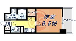 Osaka Metro四つ橋線 花園町駅 徒歩13分の賃貸マンション 9階1Kの間取り