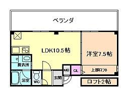 グランパルク西梅田 5階1LDKの間取り