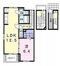 JR埼京線 北与野駅 徒歩21分の賃貸アパート 3階1LDKの間取り