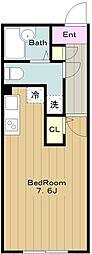 京王相模原線 京王永山駅 徒歩8分の賃貸マンション 1階ワンルームの間取り